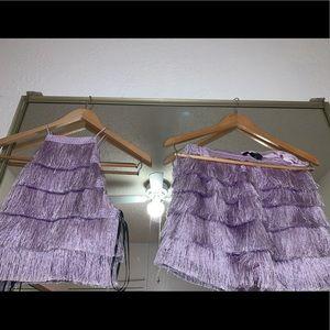 Fringe crop top & shorts set